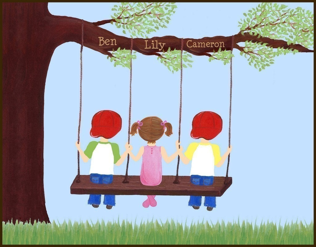 10x8 art print   siblings or triplets swinging   free personalization