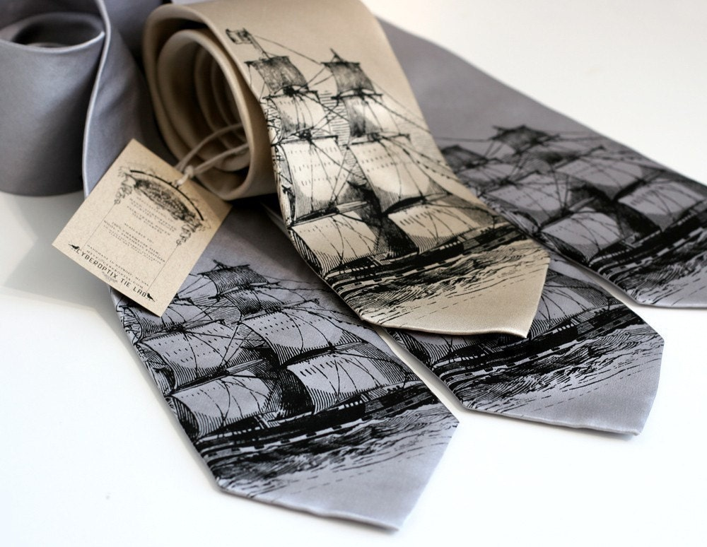 Graphic Ties with Ship Pattern