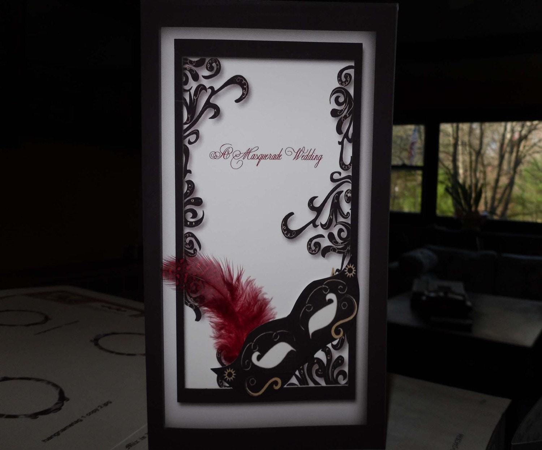 Masquerade Wedding Invitations: Invite- Gold Theme