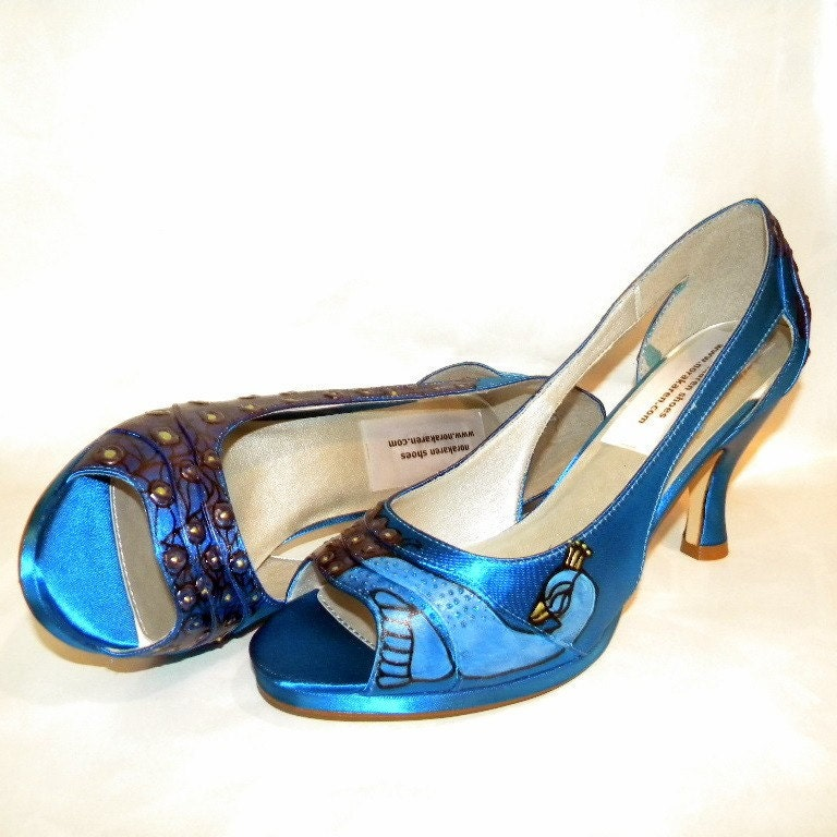 Wedding Shoes painted peacocks Blue Danube platforms PURPLE LAPIS