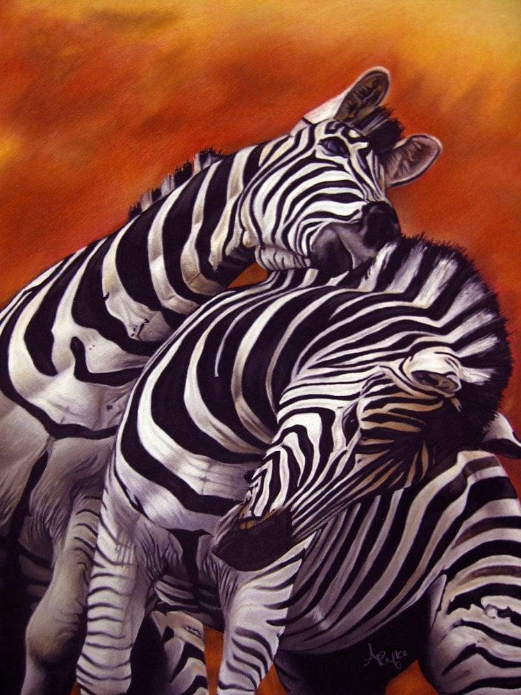 Pastel Drawing African Zebra