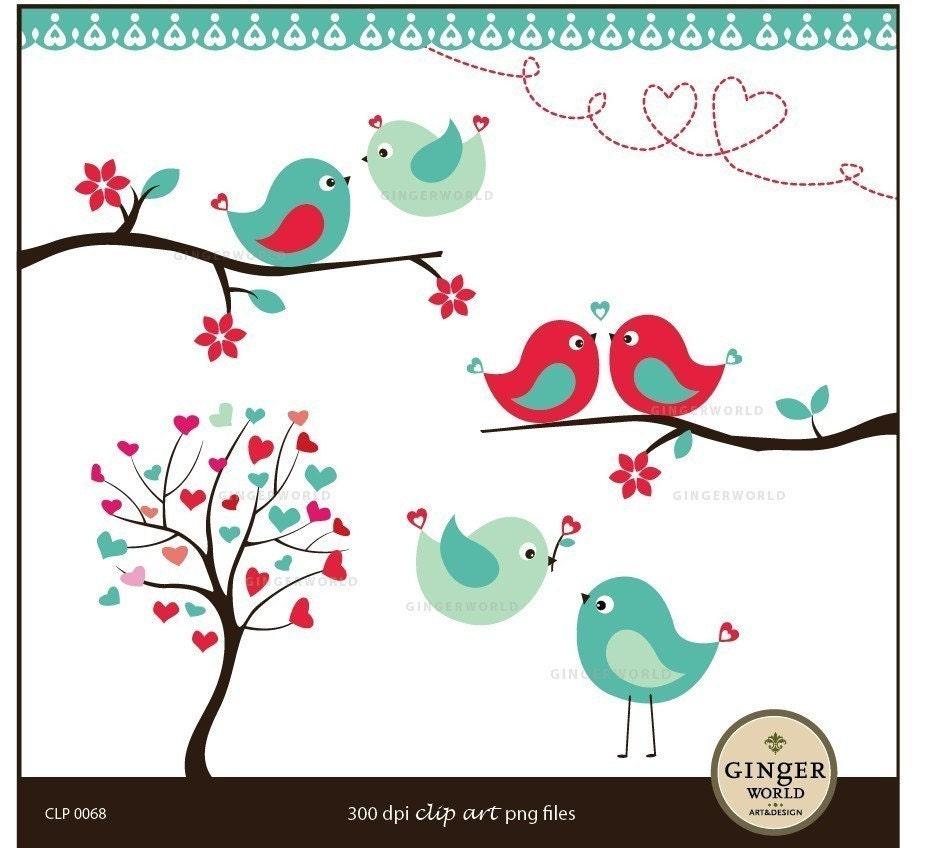 Kissing Love Birds Forest clipart digital file illustration for scrapbooking