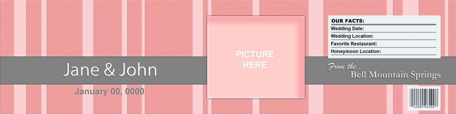 Pink Water Bottle Label Customizable Printable Add a Photo