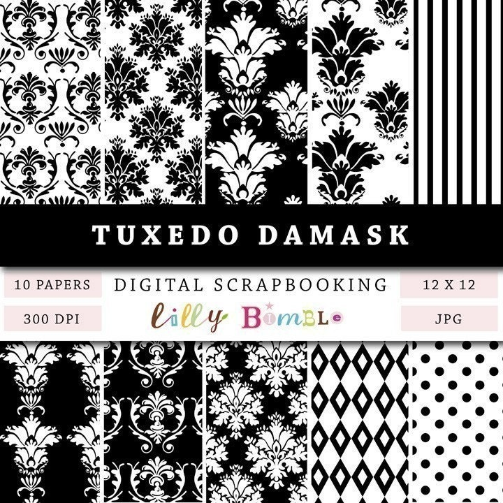 Damask Black and White digital papers for scrapbooking zoom TUXEDO DAMASK