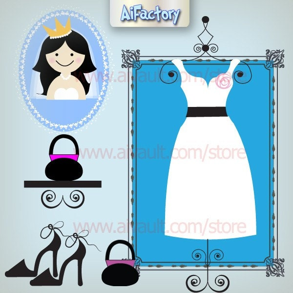 Wedding Dress and accessories Personal Use Clipart