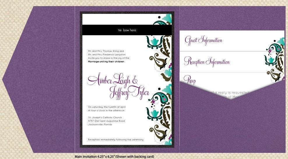 DIY Custom Wedding Invitation Suite MultiColor Damask Design Customized