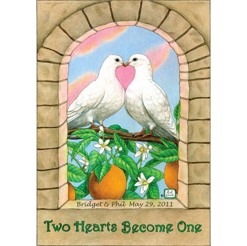 Two Hearts Become One 8x10 Wedding Print Personalized