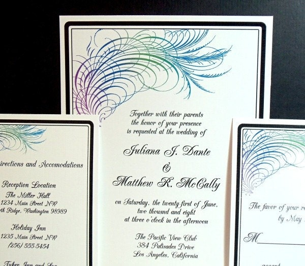 PRINTABLE Peacock Calligraphy Feather Wedding Invitation Set I set text