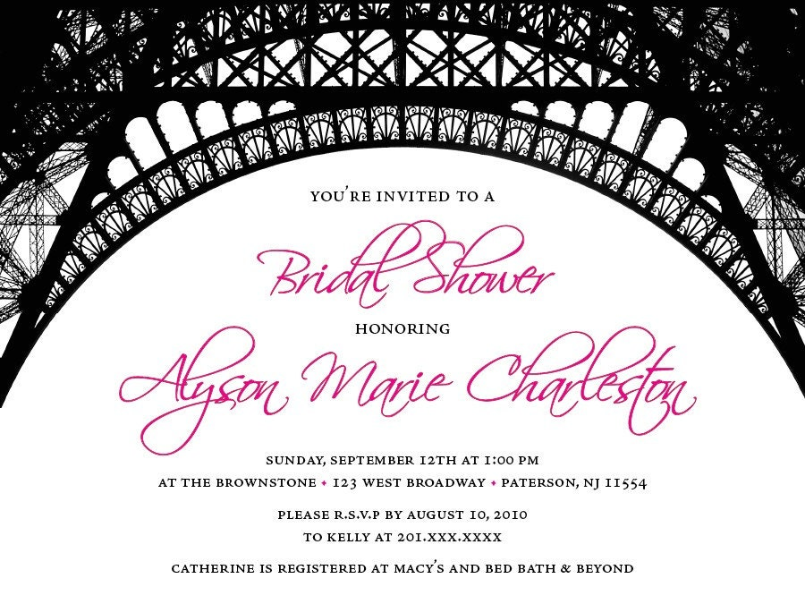 Paris Theme Bridal Shower Invitations From peprmetpat