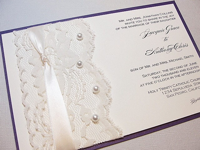 Lace Wrapped Wedding Reception Invitations Wedding Invites