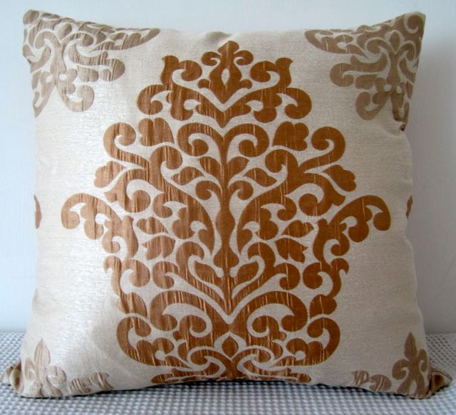 Damask Brown and Champagne Designer fabric cushion Cover Slip cover
