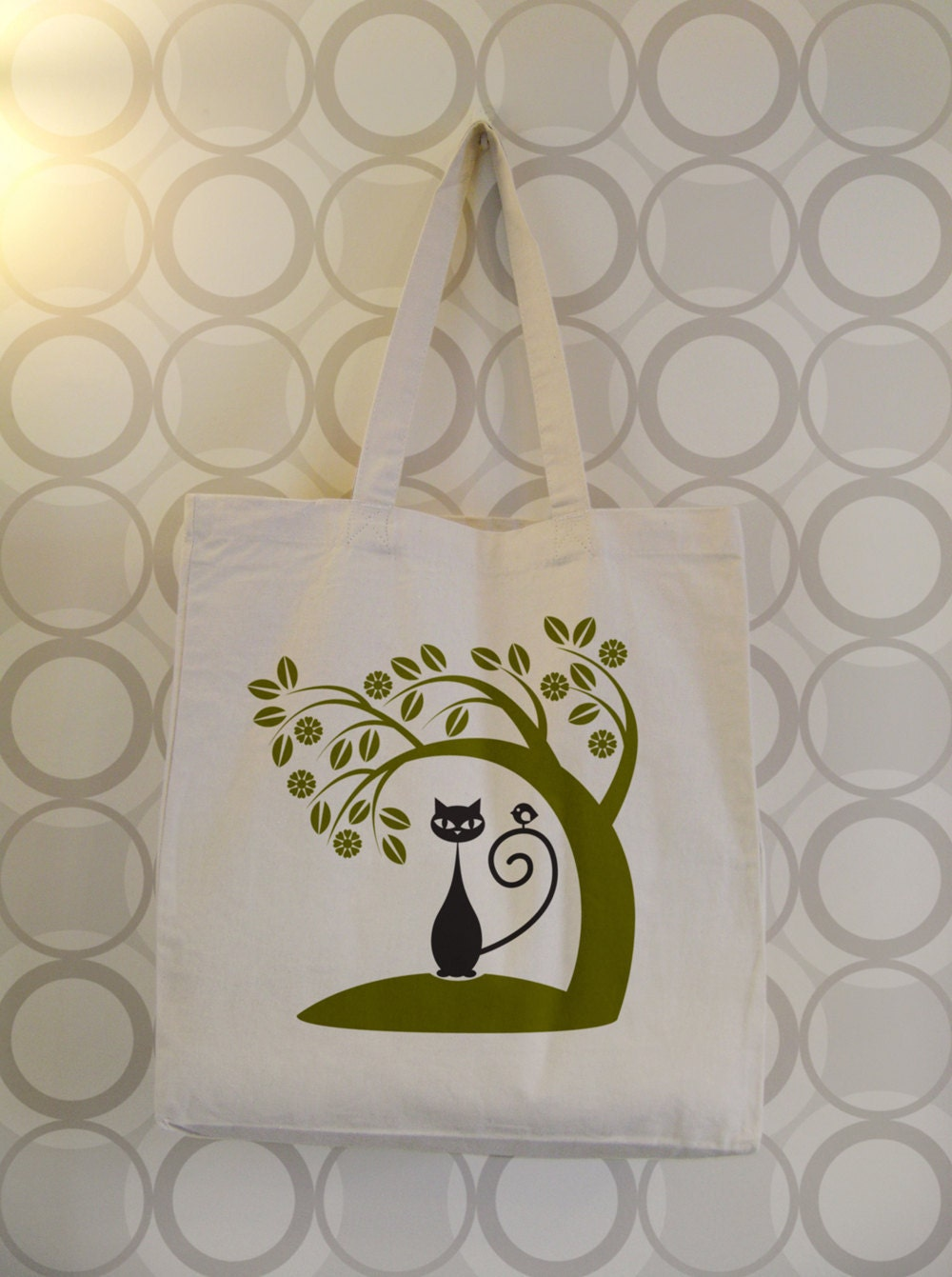 70s folk art inspired chatty nora tote bag  series4 no 1  from chattynora