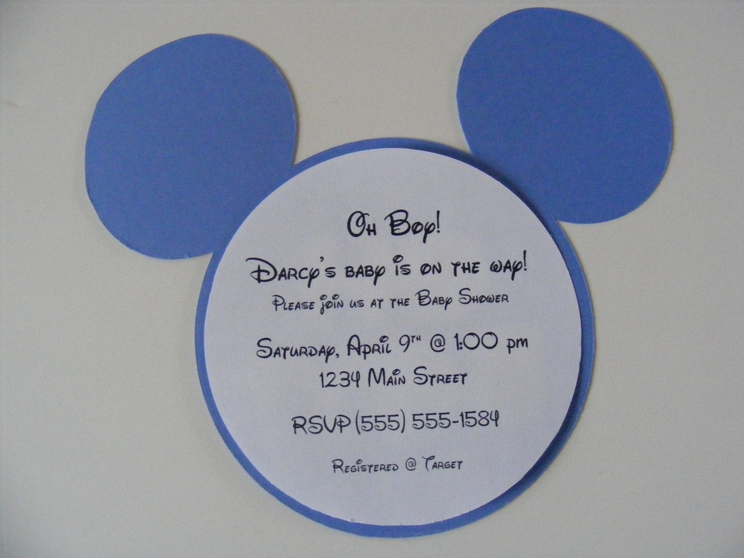Blue Mickey Mouse Onesie Baby Shower Invitation   All Wording Customized  For You | Shower Invitations, Mickey Mouse And Mice