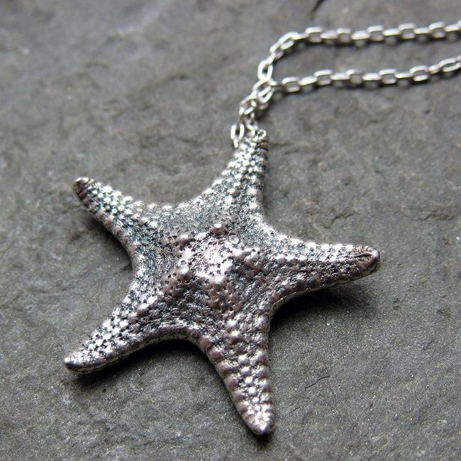 Starfish necklace in recycled sterling silver