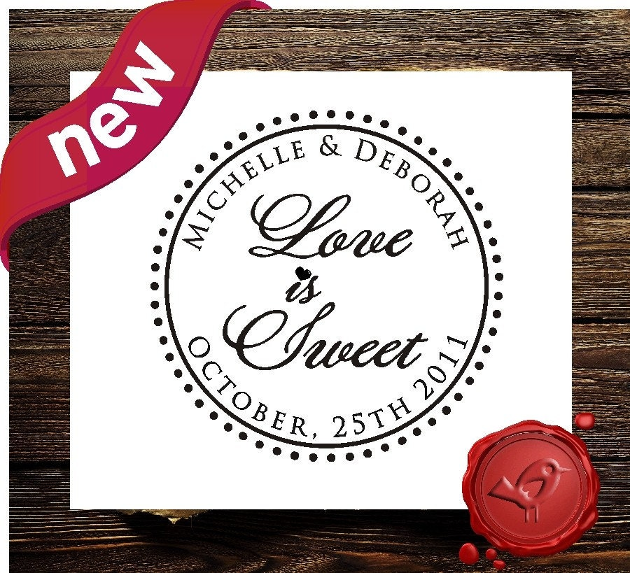 Love is Sweet Wedding Candy Buffet Custom Personalized wood handle save the