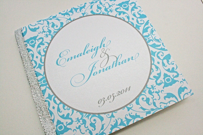 Damask Shimmer Wedding Program Sample From TigerLilyInvitations
