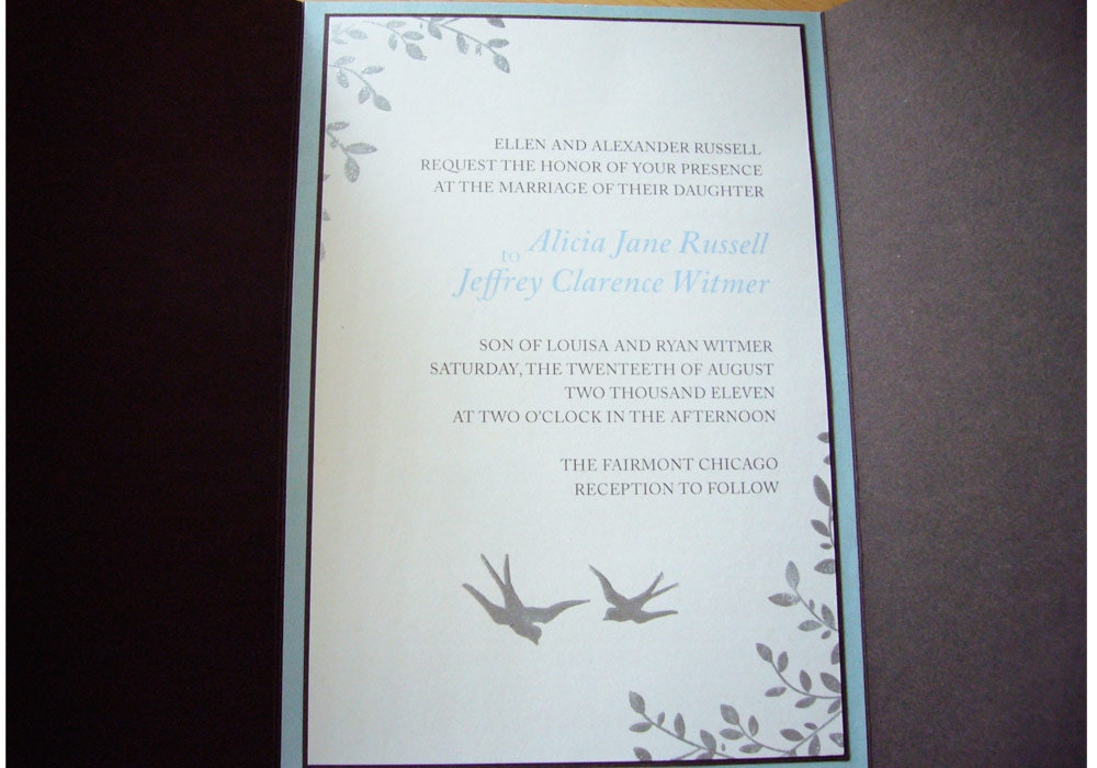 Vintage Inspired Wedding Invitation Love Birds From bizzibeestudio