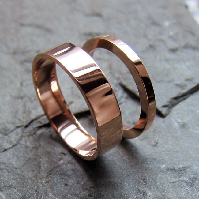 14k pink gold wedding rings, custom set made to order