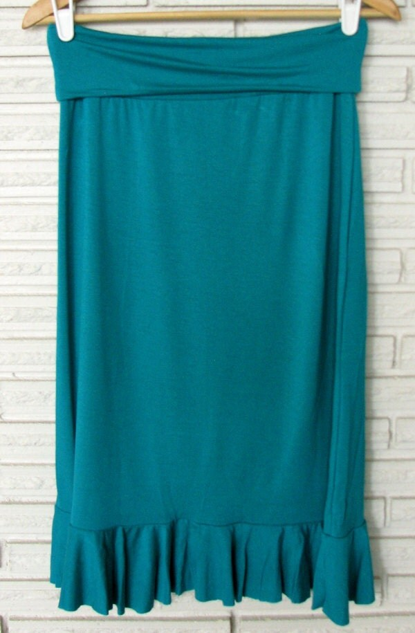 SALE Sea Green Bamboo Ruffle Skirt  size S