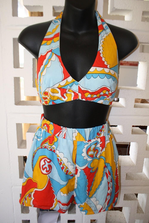 1960's 70's Vintage Babe Max Ernst Style 2 Piece Bikini Swimsuit S