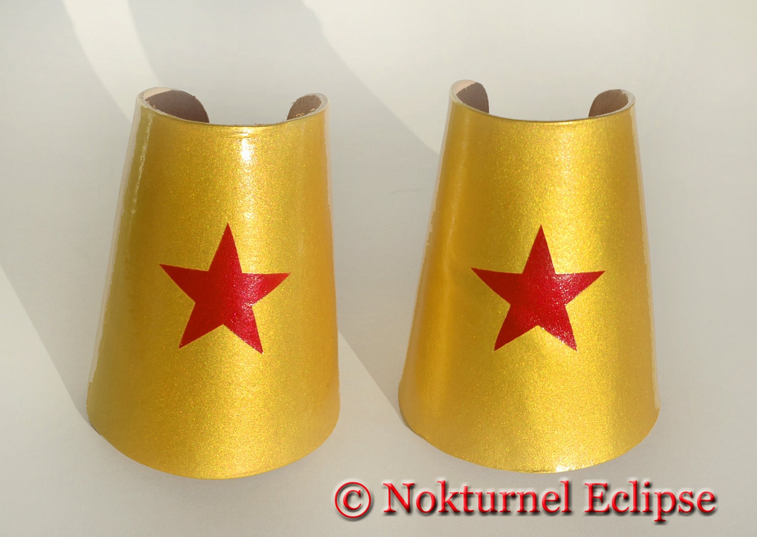 Wonder Woman Gold Leather Cuffs with Red Star by Nokturnel Eclipse ...