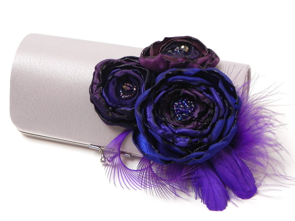 Silver Purple Feather Clutch Feather Bridal Clutch Bridesmaid Clutches