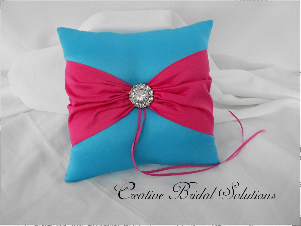 Turquoise and Fuchsia Wedding Ring Bearer Pillow