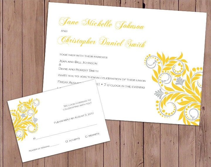 Completely customizable yellow and gray themed wedding invitation and RSVP