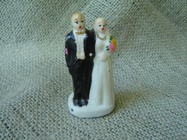 Vintage Porcelain Bisque Bride And Groom Wedding Cake Topper Made In Japan