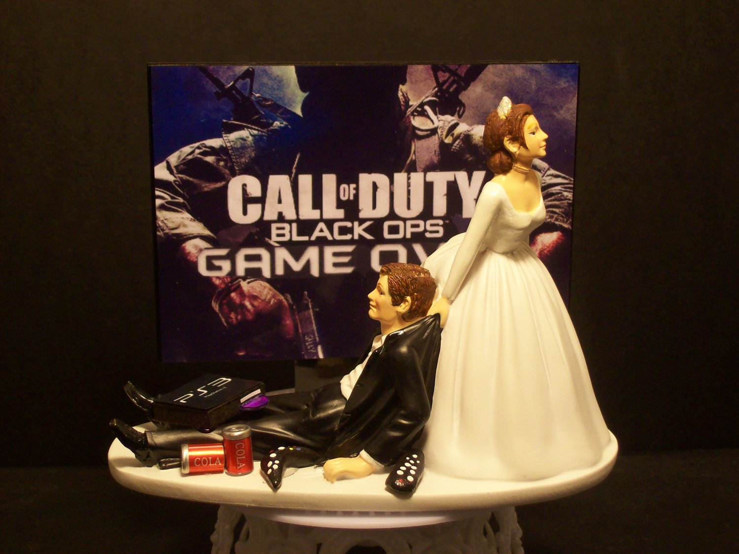 funny computer game wedding cake topper