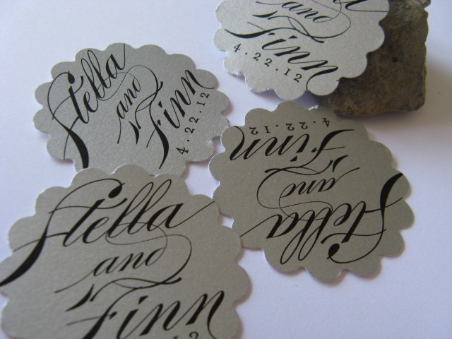 Silver Wedding Favor Tags Calligraphy Thank you tags Metallic Wedding