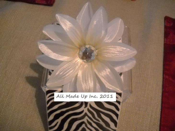Ivory Satin Lily Hair Clip or Pin Bridal Wedding with Faux Gem Center