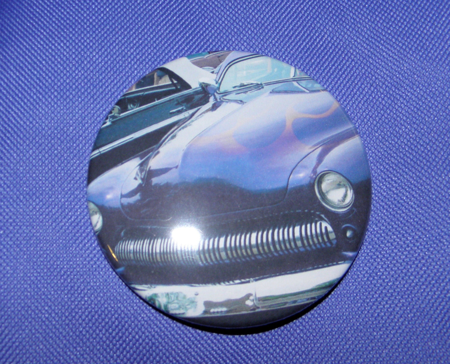 1949 Mercury Large Pin Back Button painted purple with flames