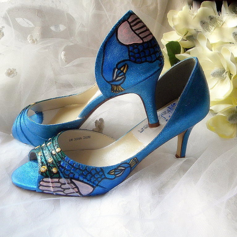 Wedding Shoes Winter Peacock teal STARRY NIGHT only paint no dye