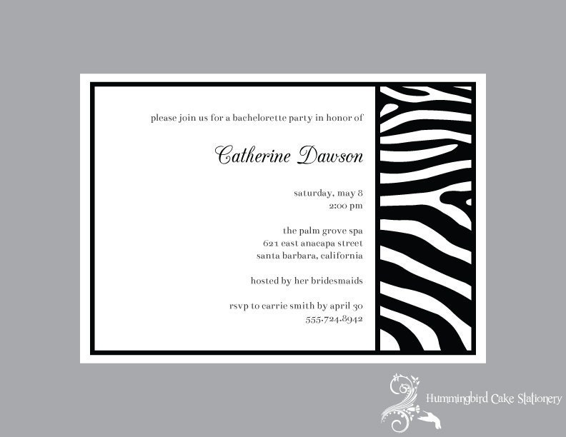 Zebra Print Party Wedding Invitation Custom DIY Printable