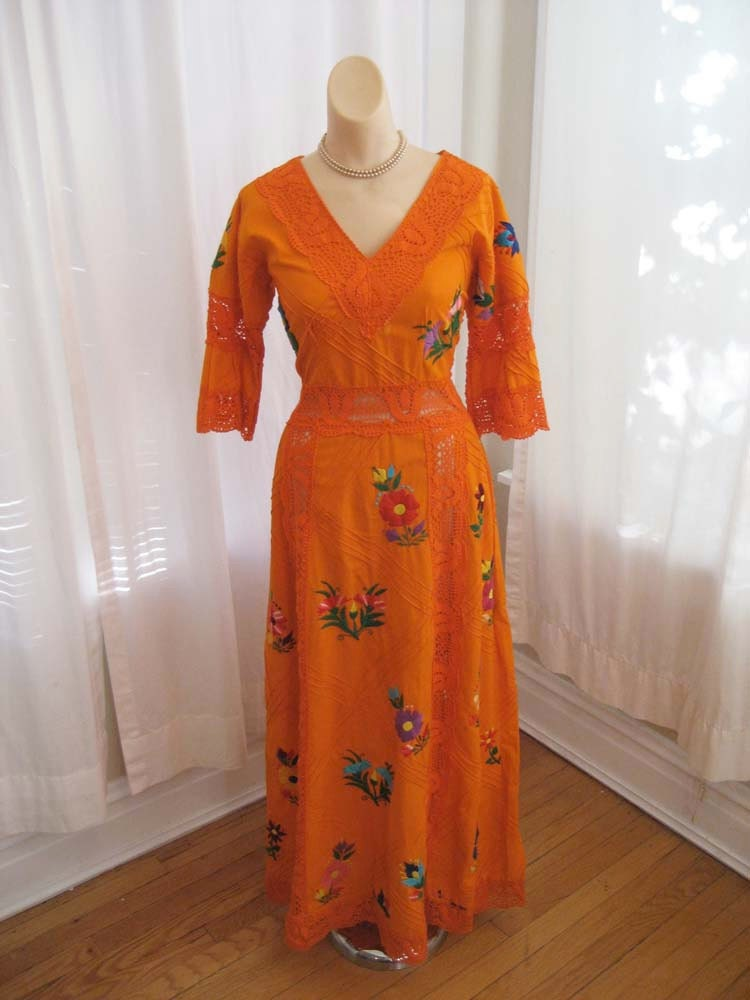 S A L E Vintage Tangerine Mexican Wedding Dress Frida Kahlo Embroidered