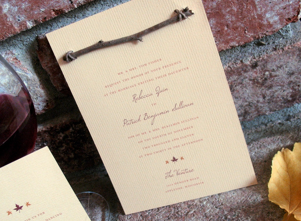 Rustic Autumn Wedding Invitation with wood branch From JacquelineAnnInvites