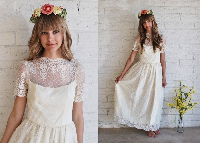 Lace Boho Scalloped 1950s 1960s Wedding Gown From KittenPawsVintage