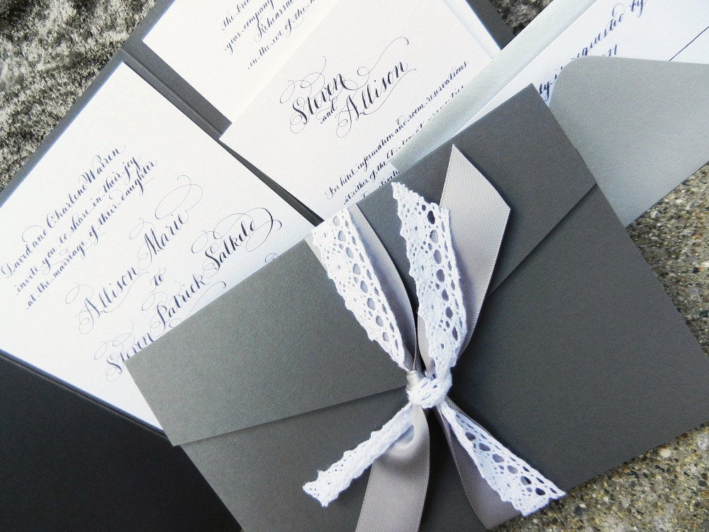 Kate Calligraphy Wedding Invitation pocketfold gray black and white