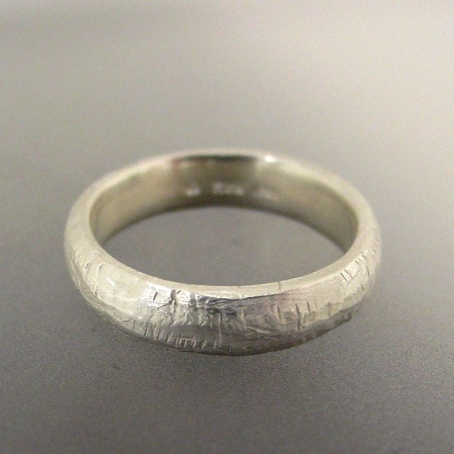 Mens Sterling Silver Wedding Ring Rustic Texture Made to order in your size