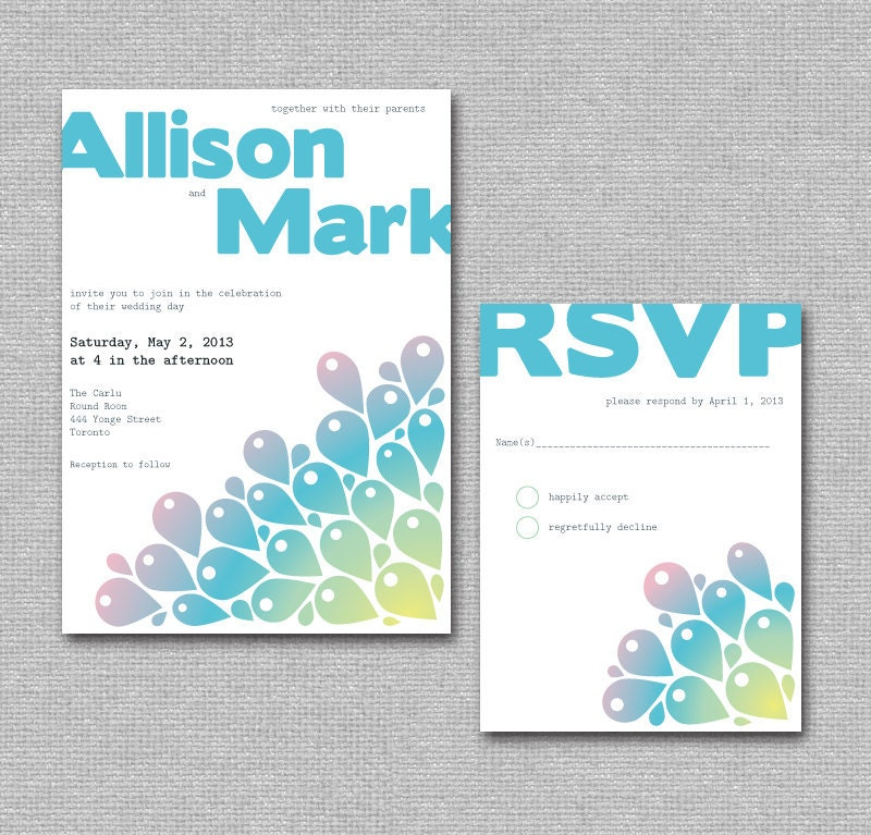 Printable DIY Wedding Invite Modern Peacock Wedding Invite Set