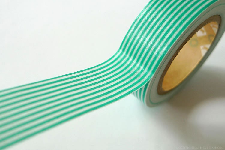 Mint Green TURQUOISE Wedding Decor Paper mt Stripe Washi Tape 15mm