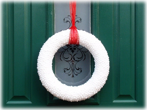 Home Decor Pearl Wreath Christmas Wedding Holidays Winter Door White