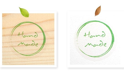 3 Green HANDMADE Transparent Sticker - 35 x 35mm