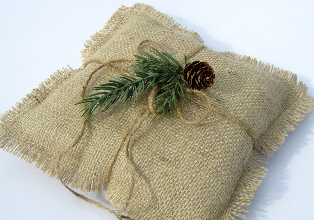 Burlap Ring Pillow with Pine Sprig and Pinecone Rustic Christmas Wedding