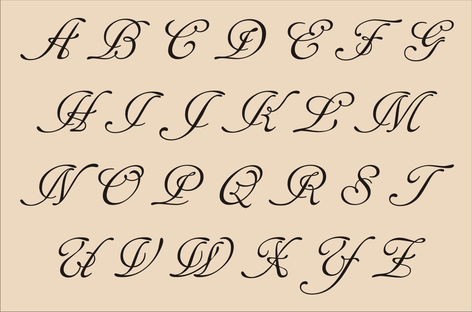 fancy styles of writing alphabets in cursive