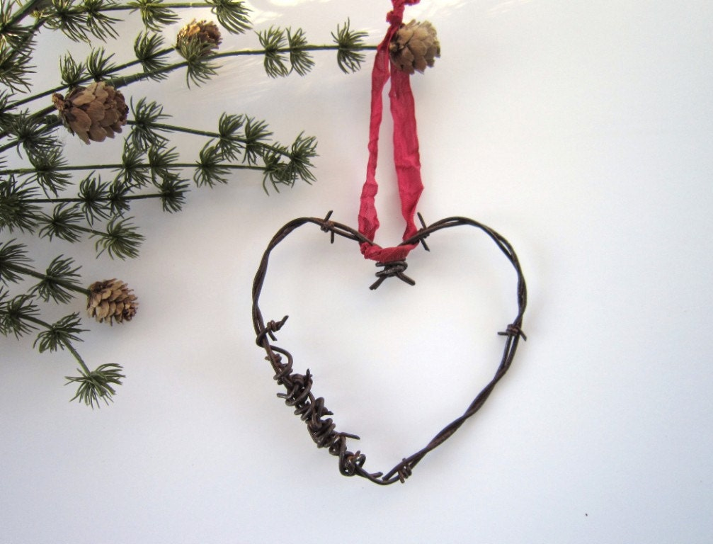 Heart Ornaments Christmas ornaments Rustic Christmas Wedding decor wedding