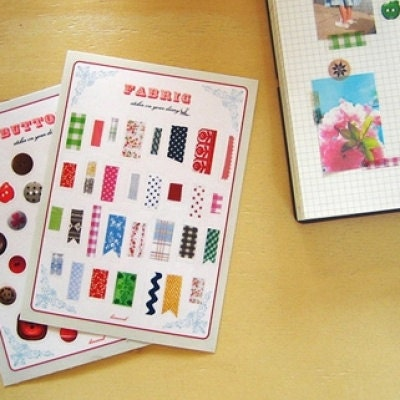 2p Button & Fabric Pattern Sticker Set,10x14cm
