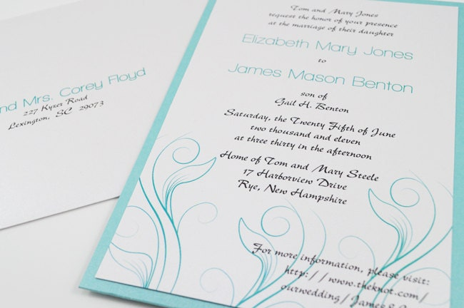 Tiffany Blue Swirl Modern Wedding Invitation Pocket and RSVP Postcard