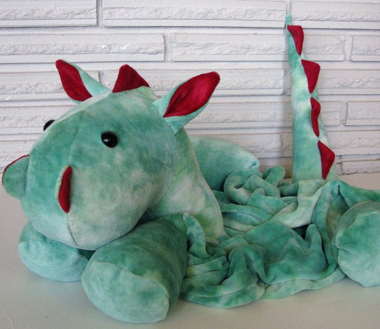 OBV Dragon Pillow Friend, Green and Red